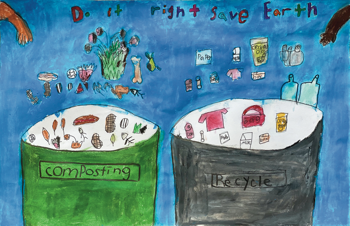 Artwork about sorting waste properly, with examples