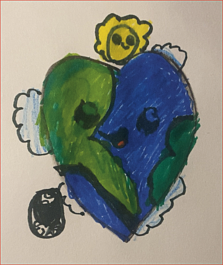 Artwork depicting the earth as a heart