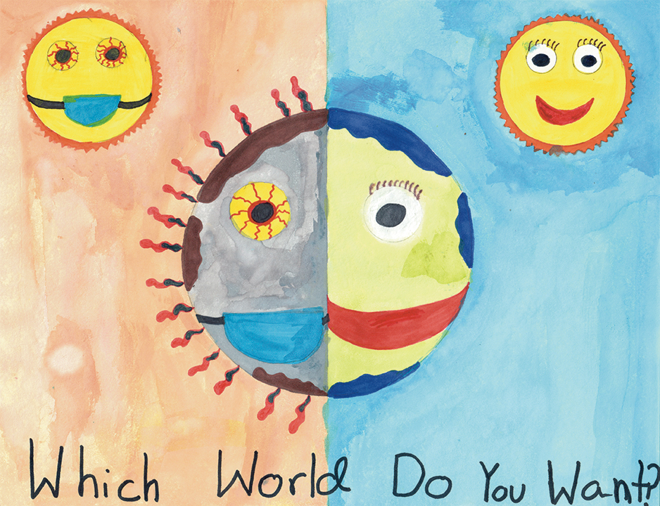 Artwork of two earths - pandemic vs. happy