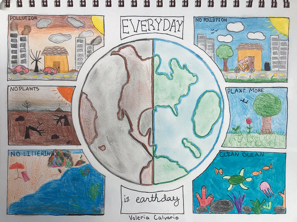 Artwork promoting things you can do to make the earth a better place
