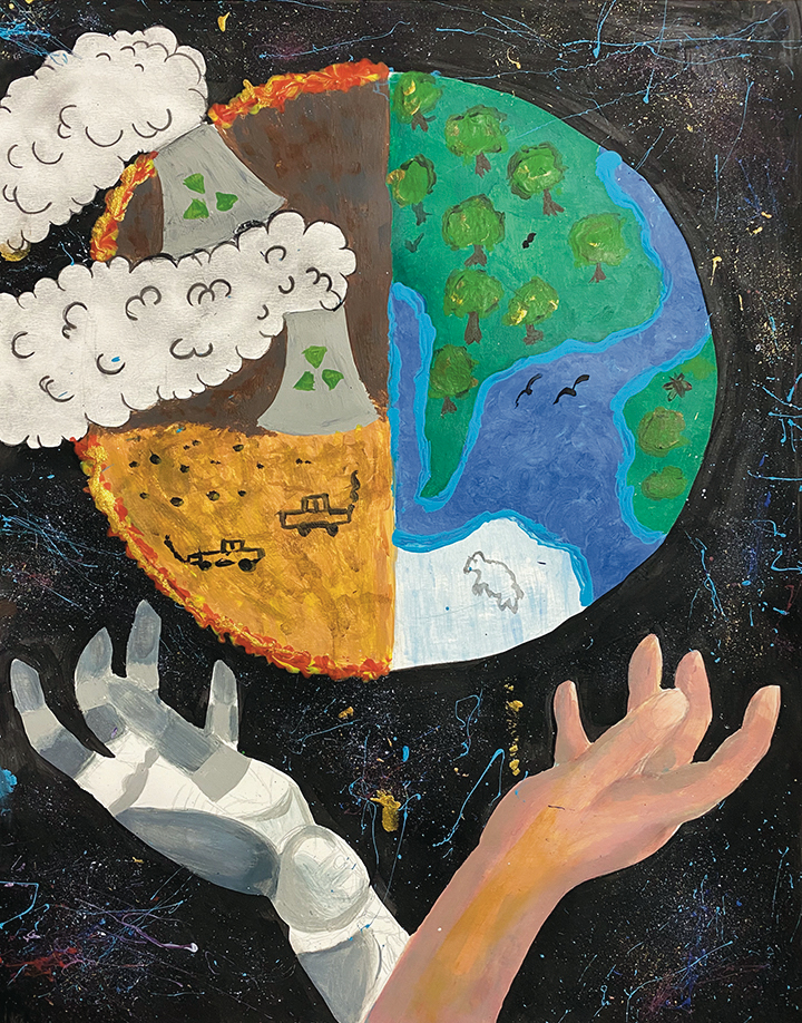 Artwork depicting two earths - sustainable and unsustainable