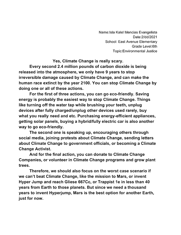 Text of essay that won first place in the 6-8 category
