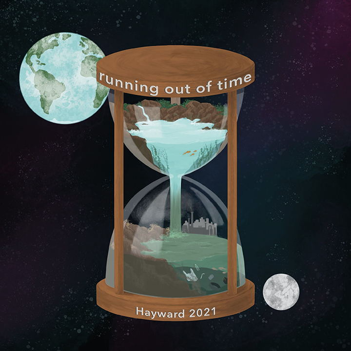 Artwork showing an hourglass with the words 'running out of time'
