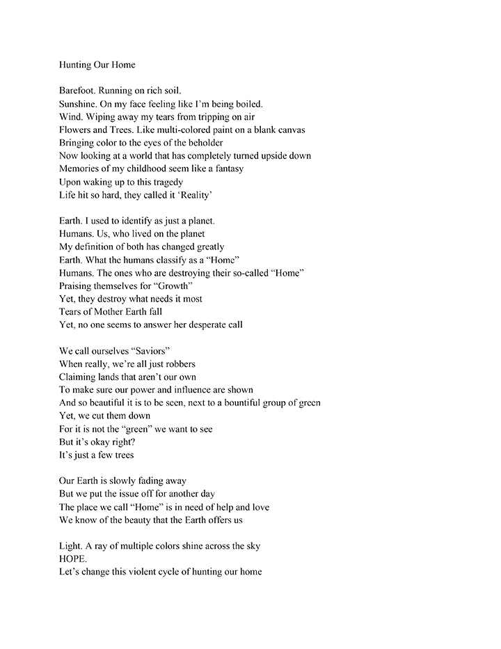 Poem that won 1st place in the high school category