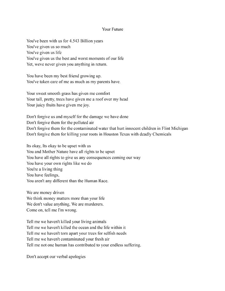 Poem that won second place in the high school category