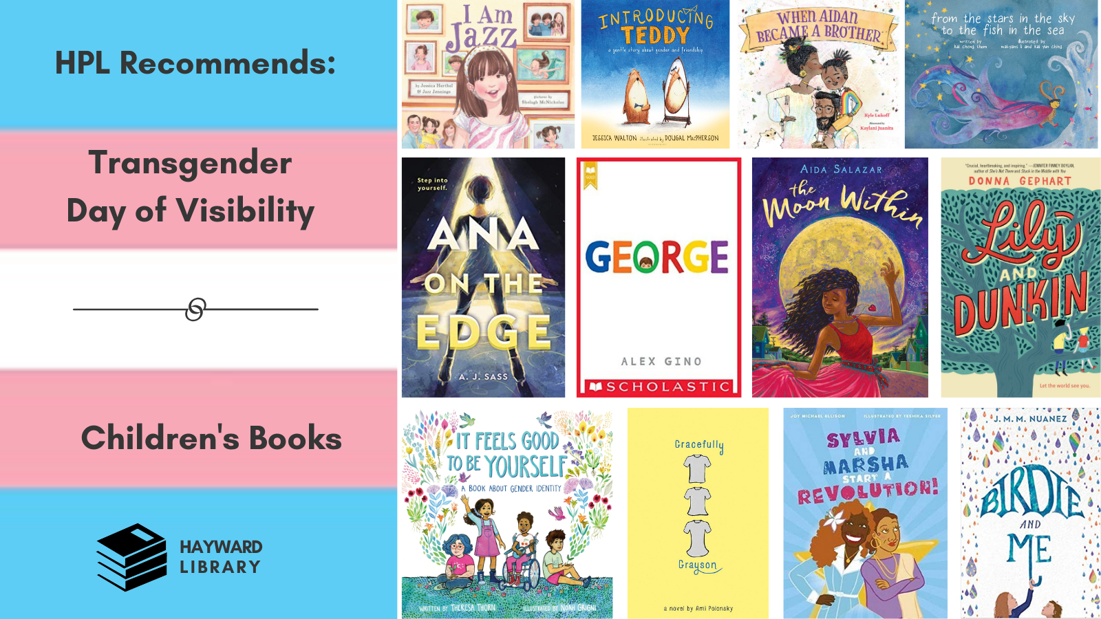 collage of book covers with trans pride flag
