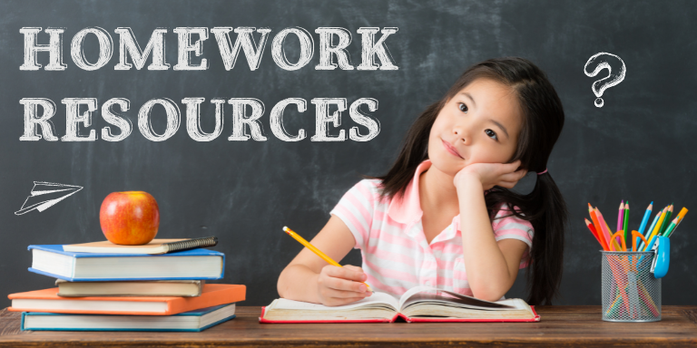 """A young girl in pigtails sitting at at desk in front of a chalkboard with the text """"Homework Resources"""" written in chalk."""