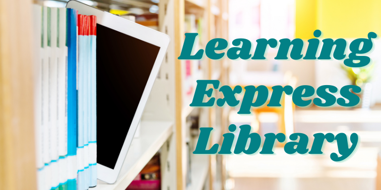 An IPad in between books on a library shelf next to the text: Learning Express Library