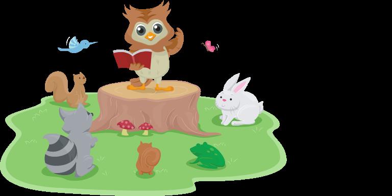 A cartoon owl reading to woodland creatures