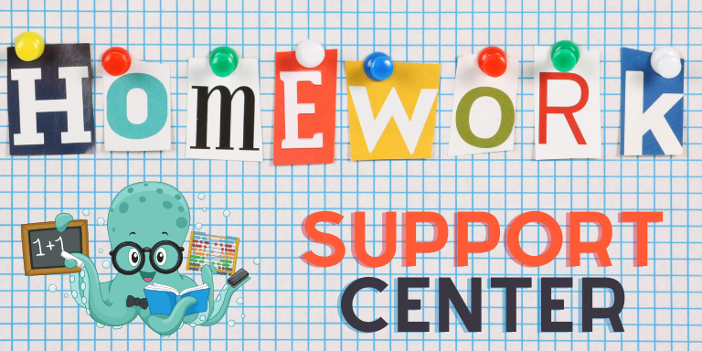 A cartoon octopus with the words homework support center
