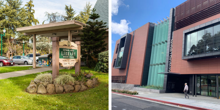 On the left the Weekes Branch Library sign. On the right the front of the Downtown Hayward Library
