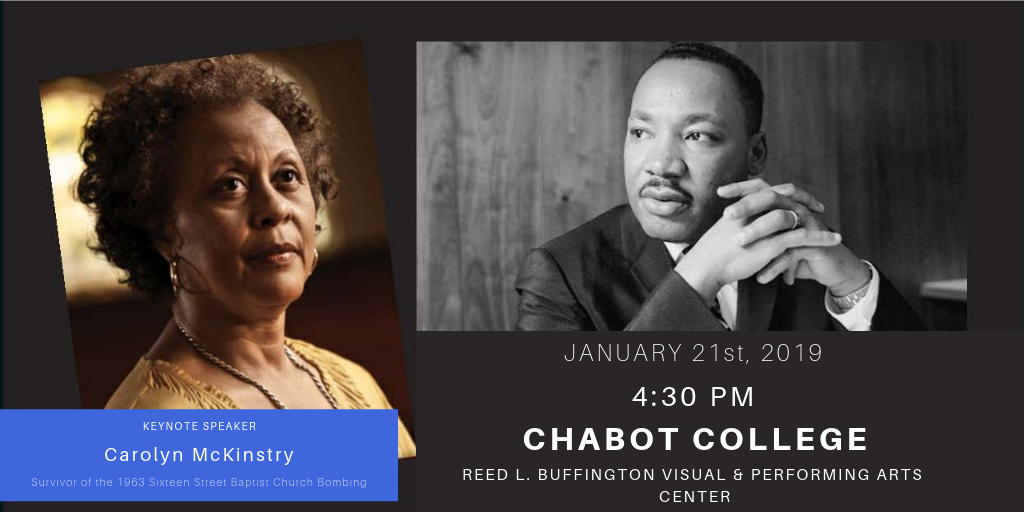 A photo of Carolyn McKinstry next to a photo of Dr. Martin Luther King Jr. against a black background. There is whiter text stating the date time and location of the event