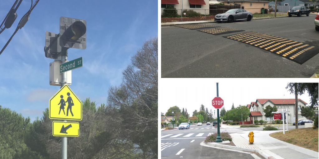 A collage of traffic calming devices including a flashing beacon, speed bumps and a stop sign