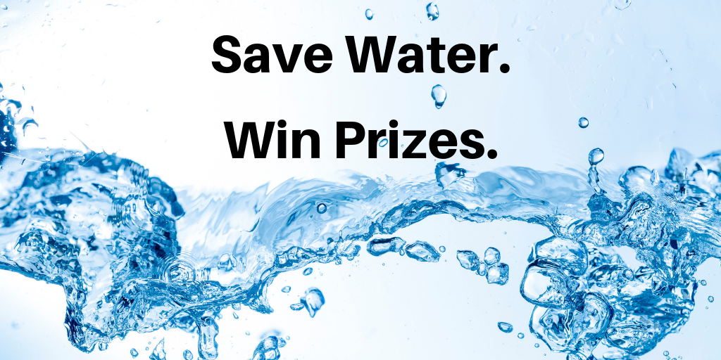 "Blue water splashing on a white background. The words "" Save Water, Win Prizes"" is written on top."