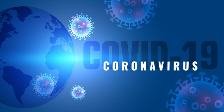 An image of the world with coronavirus images in blue