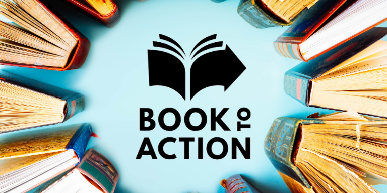 Book-to-Action in the middle of a circle of books