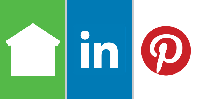 Logos for Nextdoor, Linkedin and Pinterest