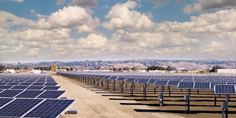 solar panels lined up at the City of Hayward solar field