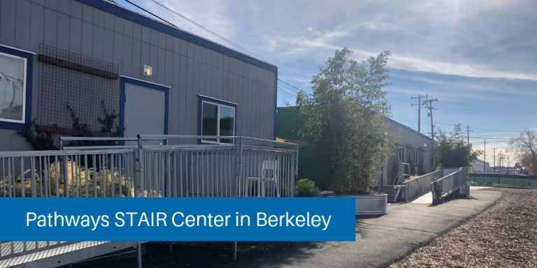 Berkeley STAIR Center - two portable buildings that are gray with blue trim