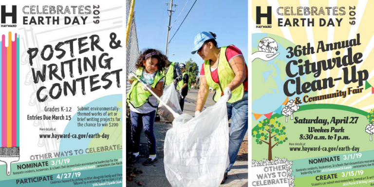 Poster and writing contest flyer, a woman and child picking up trash and the Flyer for the City Wide Clean-up