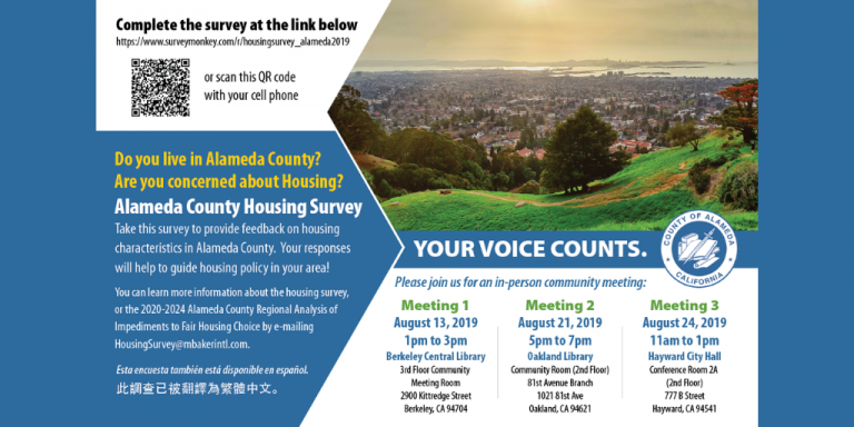 Blue background with image of the East Bay from the Oakland Hills. Information about the survey is written in text boxes on the image.