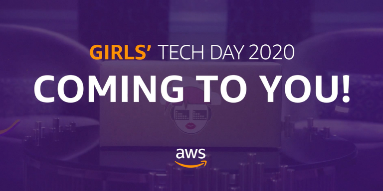 A purple screen with the text: 2020 Girls' Tech Day Coming to You