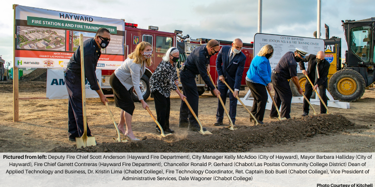 Deputy Fire Chief Scott Anderson (Hayward Fire Department), City Manager Kelly McAdoo (City of Hayward), Mayor Barbara Halliday (City of Hayward), Fire Chief Garrett Contreras (Hayward Fire Department), Chancellor Ronald P. Gerhard (Chabot/Las Positas Community College District) Dean of Applied Technology and Business, Dr. Kristin Lima (Chabot College), Fire Technology Coordinator, Ret. Captain Bob Buell (Chabot College), Vice President of Administrative Services, Dale Wagoner (Chabot College)
