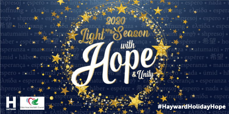 """Dark blue background with gold stars with the following text """"Light up the Season with Hope and Unity"""""""
