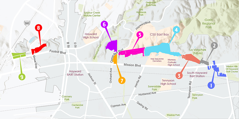 Map of Route 238 with different colored sections indicating the parcels planned for development.