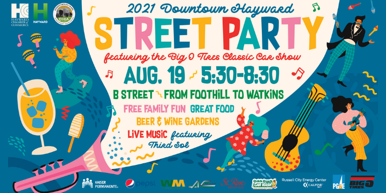 A colorful event flyer with cartoon drawings of instruments and people dancing