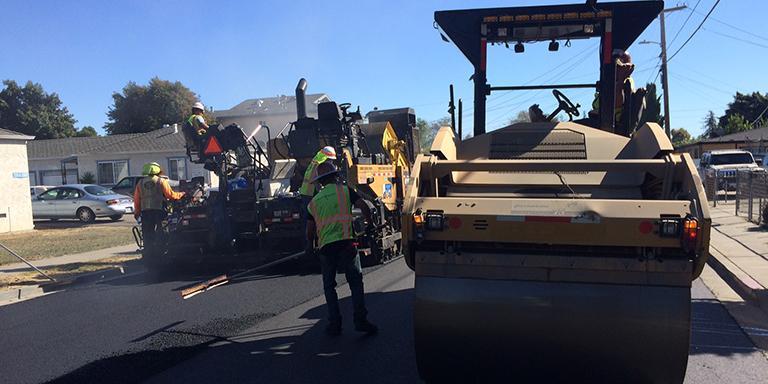 Workers repair Hayward Streets