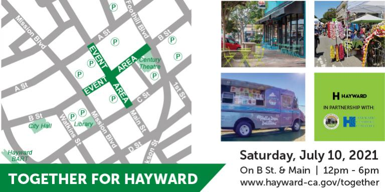 A map of downtown Hayward and images of businesses and vendors