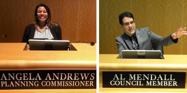 Photo of Councilmember Angela Andrews at the City Hall seat next to an image of Al Mendall at his seat in City Hall.