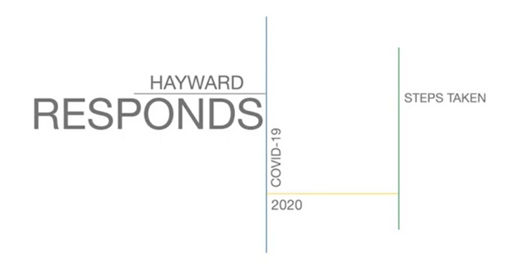 A graphic with multi-colored lines vertically and horizontally positioned with the text: Hayward Responds: COVID-19 2020 Steps Taken.