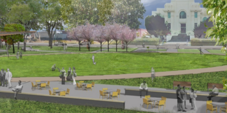 A rendering of Heritage Plaza