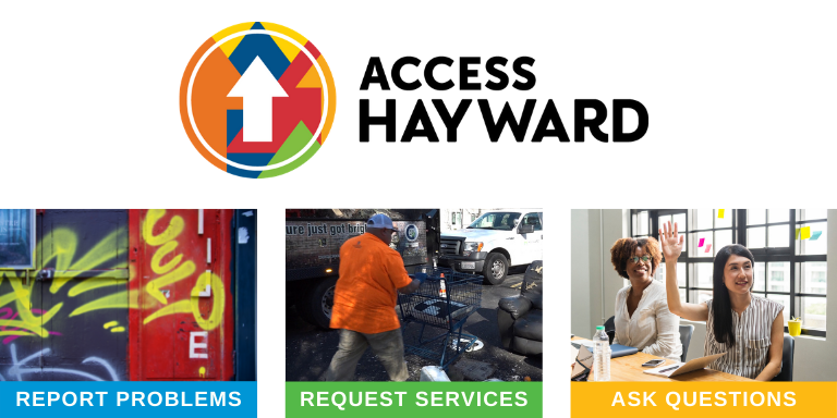The Access Hayward logo above an image of graffitti, a person picking up litter, and a person talking