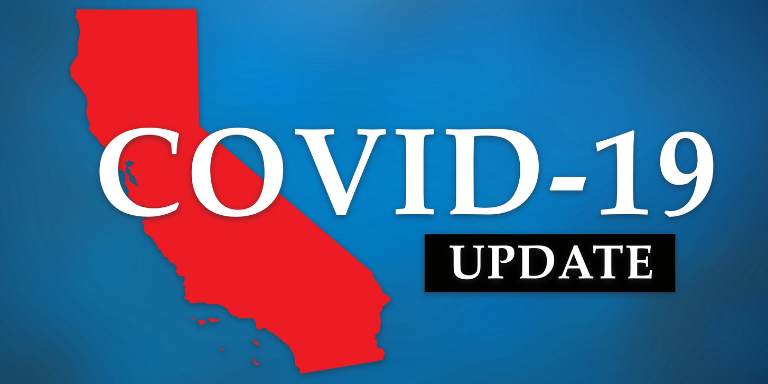 A red State of California with the text COVID-19 Update