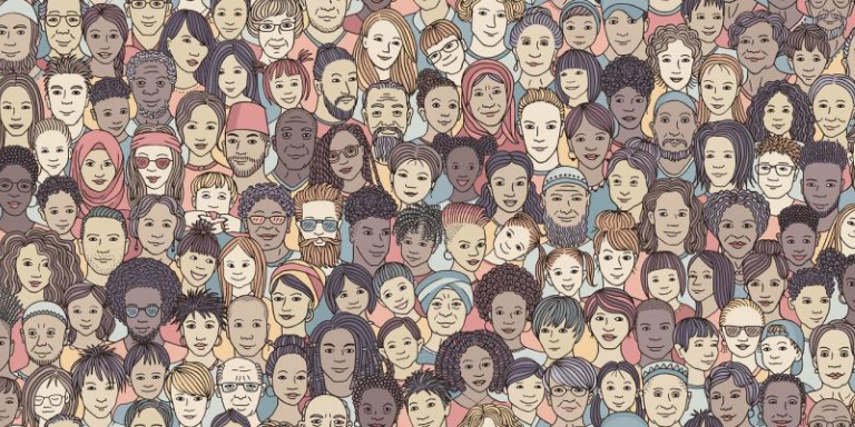 A drawing of a diverse community