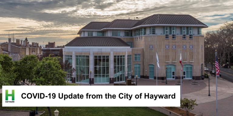 Hayward City Hall on an overcast day