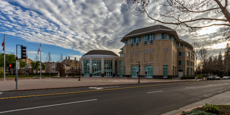 Hayward City Hall on a partly cloudy day